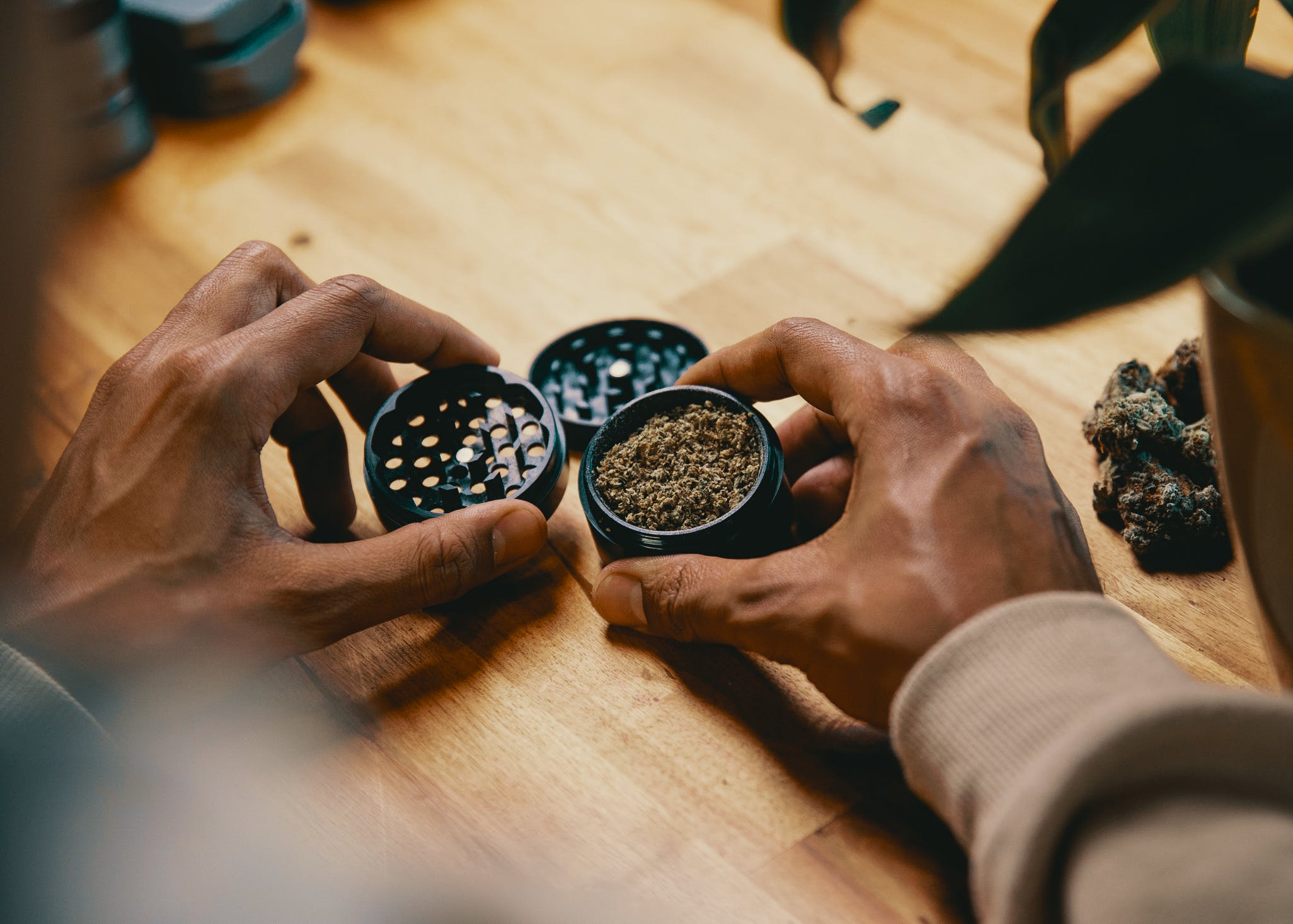 How to Get the Most Out Of Your Stash with the Best Weed Grinders. Here a man is shown with a grinder