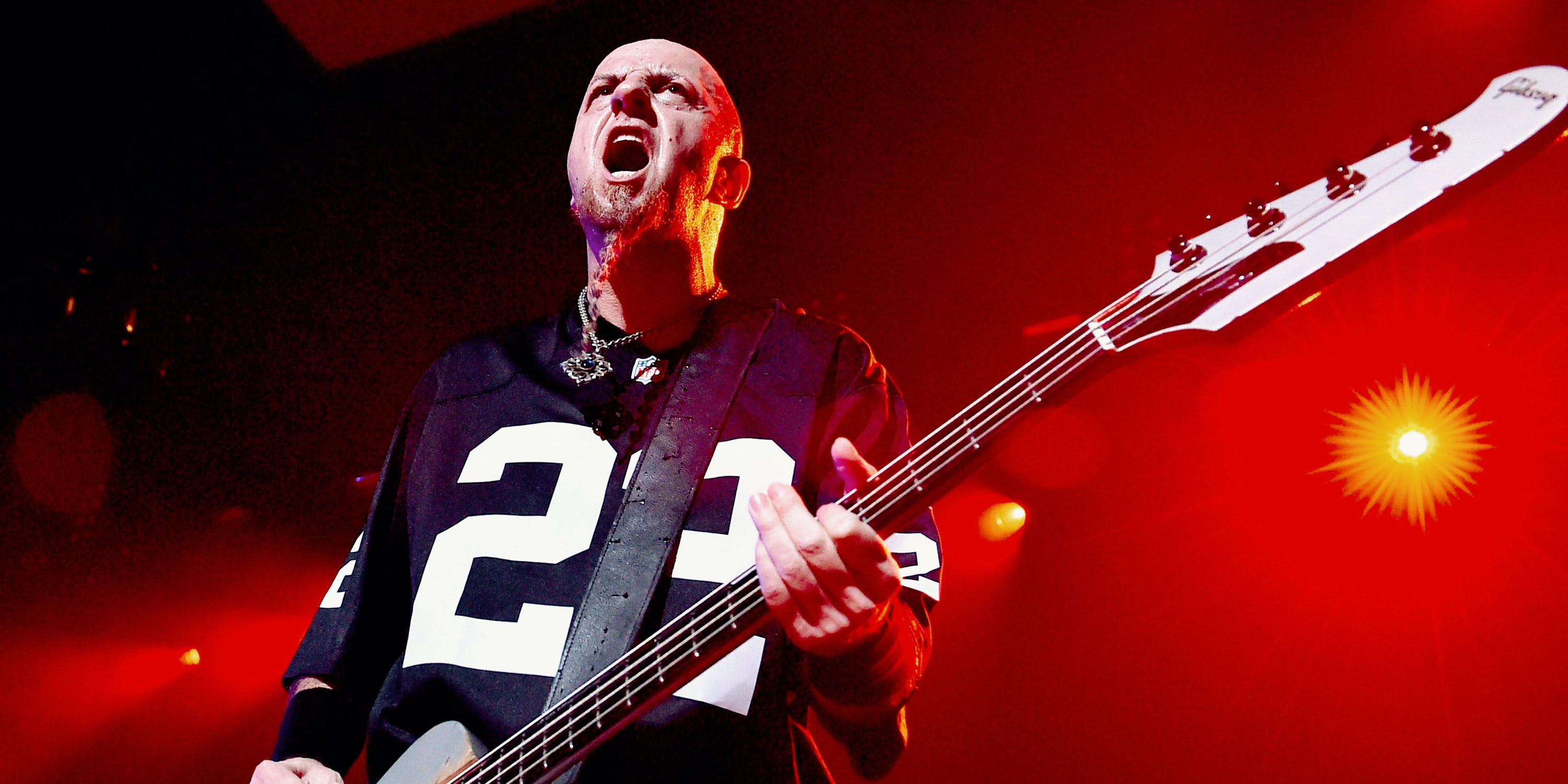 System of a Down Bassist Gets Into Weed With 22Red. Here, he is shown performing at The Forum on April 6, 2015 in Inglewood, California.