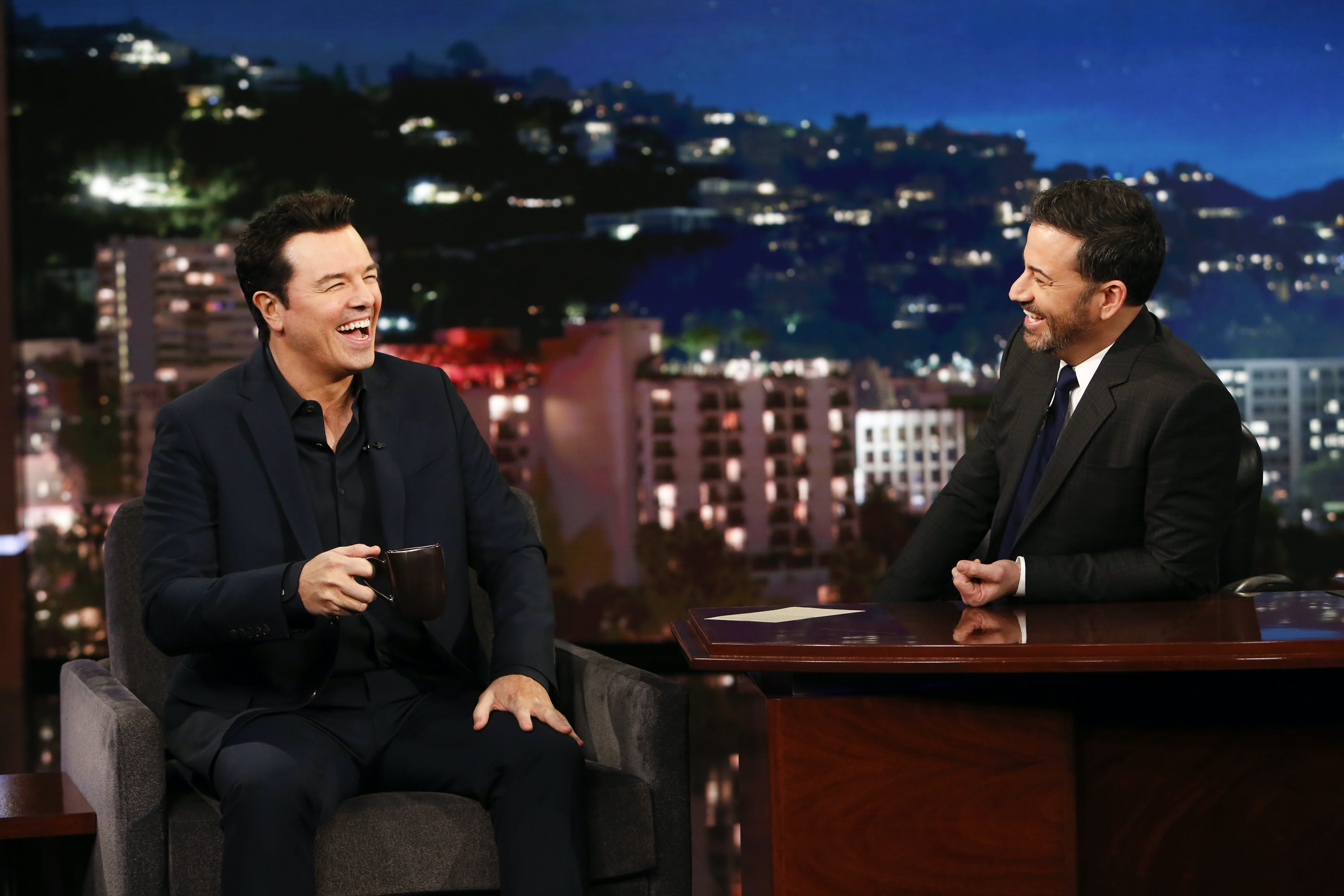 Seth MacFarlane admits to Jimmy Kimmel that he didn't smoke weed until he was almost 30.