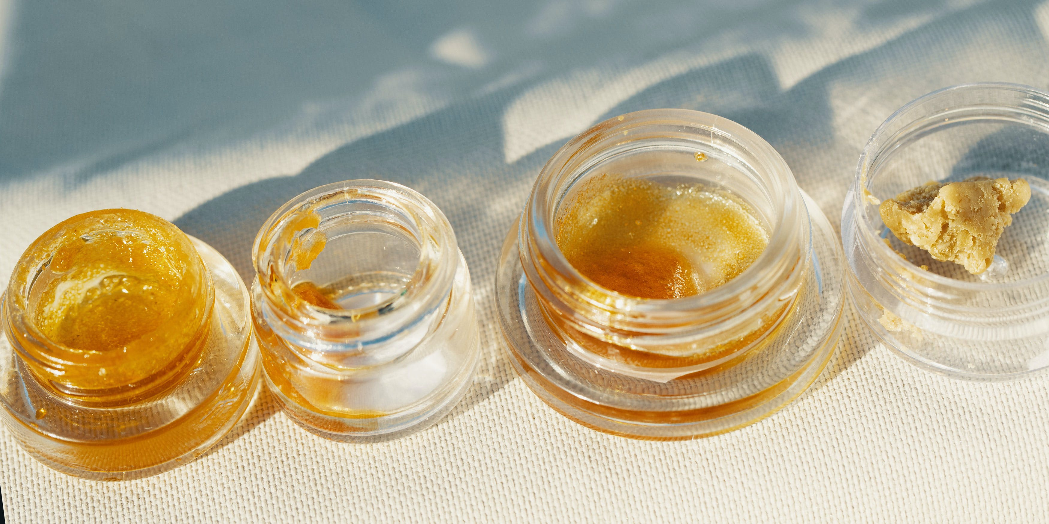 A variety of marijuana wax in jars
