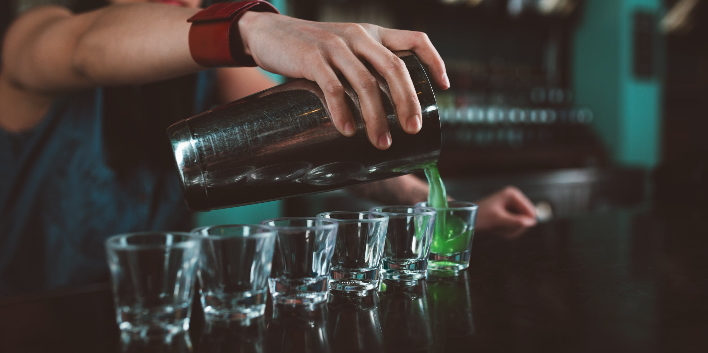Bartender makes green dragon
